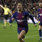 Philippe Coutinho showed his joy as he scored his first Barcelona goal