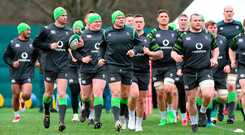 Ireland players go through their paces in training at Carton House yesterday Photo: Matt Browne/Sportsfile