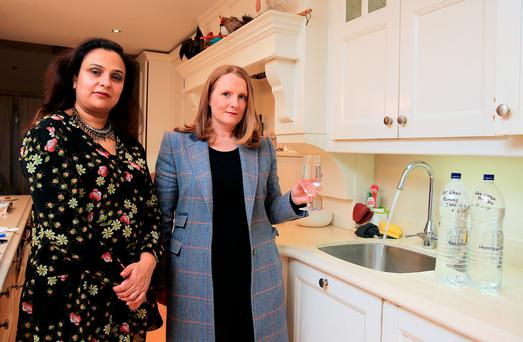 Dipti O'Reilly and Grainne Murtagh pictured in Kilcloon, Co Meath where the water is subject to above normal levels of chlorine. Photo: Gerry Mooney