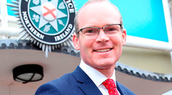 Handout photo issued by Police Service of Northern Ireland (PSNI) of Irish Foreign Minister Simon Coveney (centre) with Chief Superintendent Philip Knox (left) and Chief Constable George Hamilton during a visit to the PSNI training college in Belfast. PRESS ASSOCIATION Photo. Issue date: Wednesday February 7, 2018. See PA story ULSTER Politics. Photo credit should read: PSNI/PA Wire NOTE TO EDITORS: This handout photo may only be used in for editorial reporting purposes for the contemporaneous illustration of events, things or the people in the image or facts mentioned in the caption. Reuse of the picture may require further permission from the copyright holder.