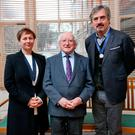 Anne Enright, President Michael D Higgins, and Sebastian Barry at the announcement of Laureate for Irish Fiction 2018-2021 in Dublin yesterday. Photo: Maxwells
