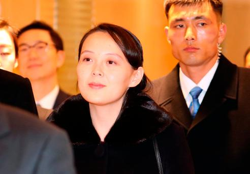 Kim Yo Jong, sister of North Korean leader Kim Jong Un, center, arrives at Incheon International Airport in Incheon, South Korea, Friday, Feb. 9, 2018. A high-level North Korean government delegation including leader Kim Jong Un's sister has arrived in South Korea to attend the opening ceremony of the Pyeongchang Winter Olympics. (Kim Ju-hyung/Yonhap via AP)