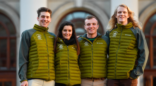 From left, Irish Winter Olympic athletes Seamus O'Connor, Tess Arbez, Pat McMillan and Brendan Newby. Photo by Ramsey Cardy/Sportsfile