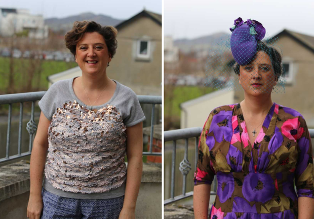 Milliner Sarah McGahon, before and after her weight loss.