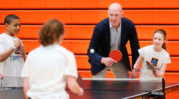 Former Ireland, British & Irish Lions and Munster captain Paul O'Connell plays table tennis in a team with Aiobhinn Burke (U10 Silver Judo) from Limerick Community Games in University of Limerick today to launch this year's Aldi Community Games festivals