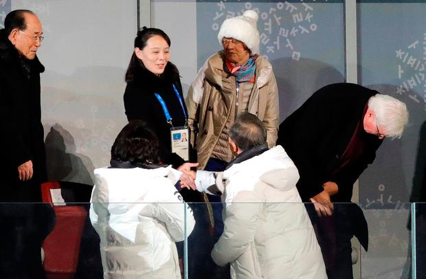 Pyeongchang 2018 Winter Olympics – Opening ceremony – Pyeongchang Olympic Stadium - Pyeongchang, South Korea – February 9, 2018 - President of South Korea Moon Jae-in, his wife Kim Jung-Sook, Kim Yo-Jong, the sister of North Koreas leader Kim Jong-un and German President Frank-Walter Steinmeier during the opening ceremony