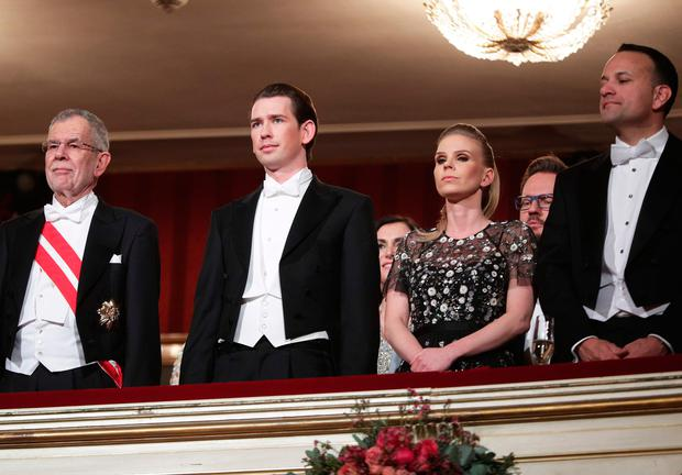 Austrian President Alexander Van der Bellen, Austrian Chancellor Sebastian Kurz and his partner Susanne Thier and Taoiseach Leo Varadkar stand prior the opening of the Opera Ball 2018, the sumptuous highlight of the Austrian capital's ball season, on February 8, 2018 at the State Opera House in Vienna. / AFP PHOTO / APA / GEORG HOCHMUTH / Austria OUTGEORG HOCHMUTH/AFP/Getty Images