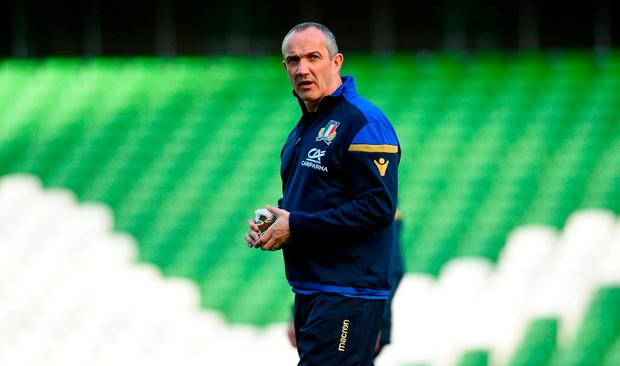 Head coach Conor O'Shea during the Italy Rugby Captain's Run at the Aviva Stadium in Dublin. Photo by David Fitzgerald/Sportsfile