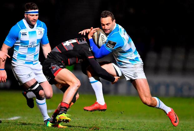 Dave Kearney of Leinster is tackled by Darcy Graham of Edinburgh during the Guinness PRO14 Round 14 match between Edinburgh Rugby and Leinster at Myreside, in Edinburgh, Scotland. Photo by Brendan Moran/Sportsfile