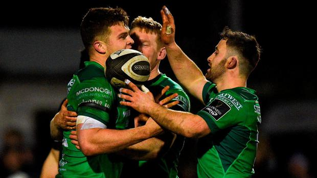 Tom Farrell of Connacht is congratulated by his team-mates after scoring a try against the Ospreys during the Guinness PRO14 Round 14 match between Connacht and Ospreys at Sportsground, in Galway. Photo by Matt Browne/Sportsfile