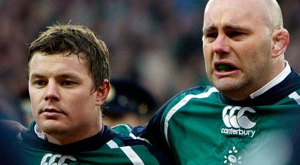 Brian O'Driscoll and John Hayes during the national anthem before the match against England. Photo: ©INPHO/Dan Sheridan