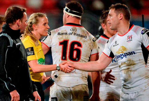 Referee Joy Neville shakes hands with Darren Cave of Ulster after the Guinness PRO14 Round 14 match between Ulster and Southern Kings at Kingspan Stadium in Belfast. Photo by Oliver McVeigh/Sportsfile