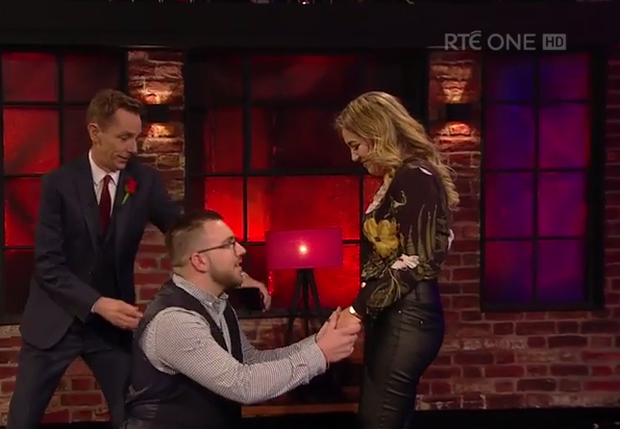 James Hennessy proposing to his girlfriend Siobhan live on air Photo: RTÉ