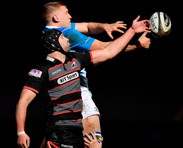 Leinster's Ross Molony contests a lineout with Edinburgh's Fraser McKenzie. Photo: Sportsfile