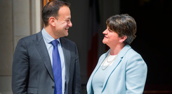 Taoiseach Leo Varadkar and the North's former First Minister Arlene Foster