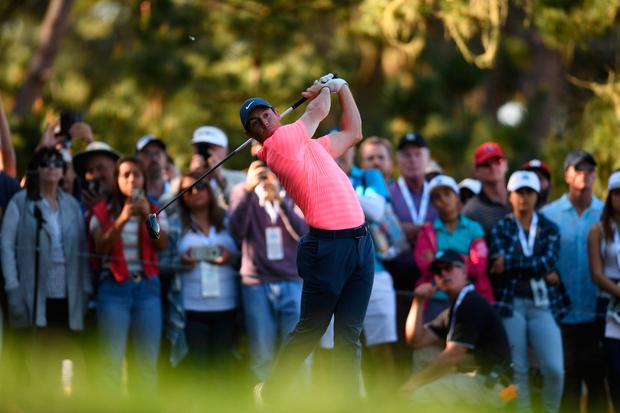 Feb 8, 2018; Pebble Beach, CA, USA; Rory McIlroy tees off on the seventh during the first round of the AT&T Pebble Beach Pro-Am golf tournament at Spyglass Hill Golf Course. Mandatory Credit: Joe Camporeale-USA TODAY Sports