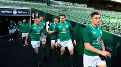 9 February 2018; Jordan Larmour walks out prior to the Ireland Rugby Captain's Run at the Aviva Stadium in Dublin. Photo by David Fitzgerald/Sportsfile