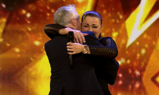 Louis Walsh on stage with Linda McLoughlin on Ireland's Got Talent