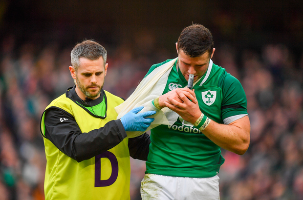 10 February 2018; Robbie Henshaw of Ireland leaves the pitch with Ireland team doctor Ciaran Cosgrave during the Six Nations Rugby Championship match between Ireland and Italy at the Aviva Stadium in Dublin. Photo by Brendan Moran/Sportsfile