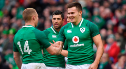 10 February 2018; Jacob Stockdale of Ireland celebrates scoring his sides 6th try with team-mates Keith Earls, left, and Rob Kearney, centre during the Six Nations Rugby Championship match between Ireland and Italy at the Aviva Stadium in Dublin. Photo by Brendan Moran/Sportsfile