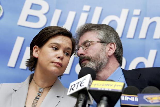 Gerry Adams and his successor as President of Sinn Fein, Mary Lou McDonald