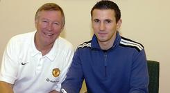 Alex Ferguson (left) and Liam Miller (right).
