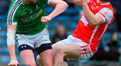Con O'Callaghan of Cuala in action against Michael Conneely of Liam Mellows
