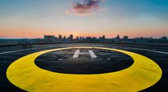 All quiet: The helipad on the roof of Government Buildings. Photo: Getty