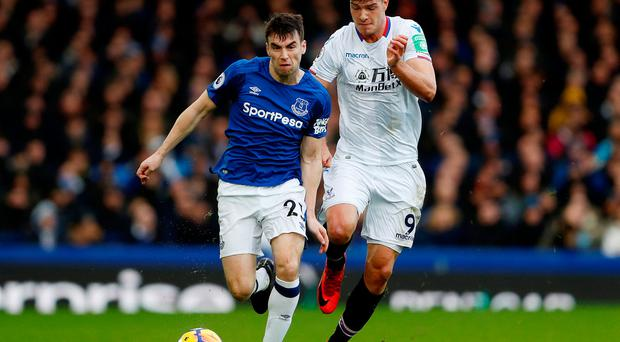 Everton's Seamus Coleman in action with Crystal Palace's Alexander Sorloth
