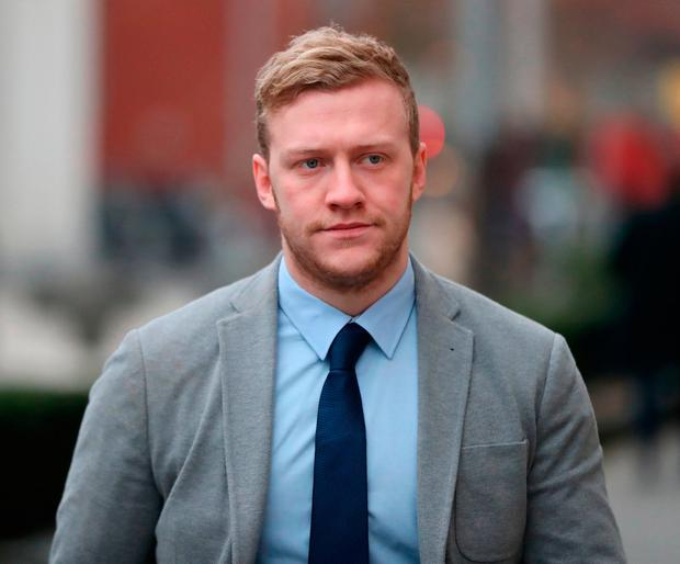 Accused: Ireland and Ulster rugby players Stuart Olding, pictured, and Paddy Jackson arrive at Belfast Crown Court where they are standing trial accused of raping the same woman in Mr Jackson's bedroom in June 2016. Photo: PA Wire