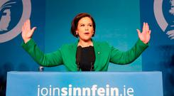 In charge: Sinn Fein president Mary Lou McDonald at the party's special conference in Dublin's RDS. Photo: Niall Carson. Photo: PA