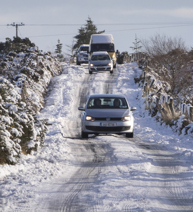 Big chill: Snow in Wicklow last week made driving tricky