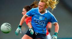 Carla Rowe of Dublin in action against Shauna Kelly of Cork