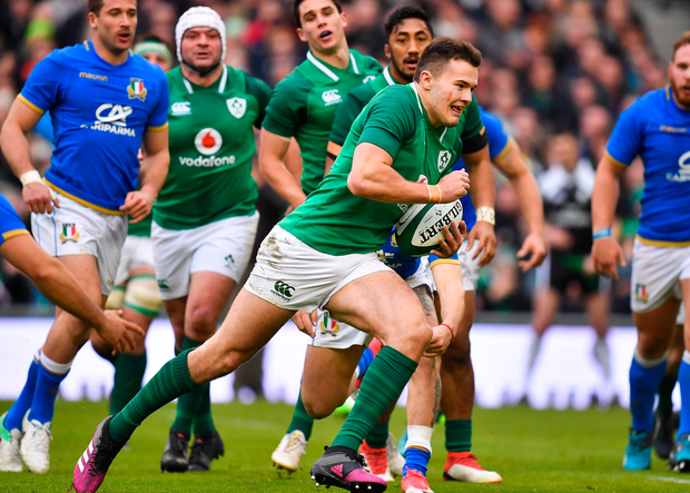 Jacob Stockdale of Ireland scores his side's sixth try. Photo: Sportsfile
