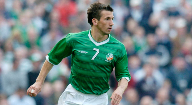 Liam Miller in action for Ireland at Lansdowne Road. Photo: Sportsfile