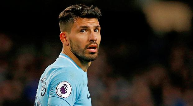 Sergio Aguero was on fire for Manchester City yesterday. Photo: Reuters