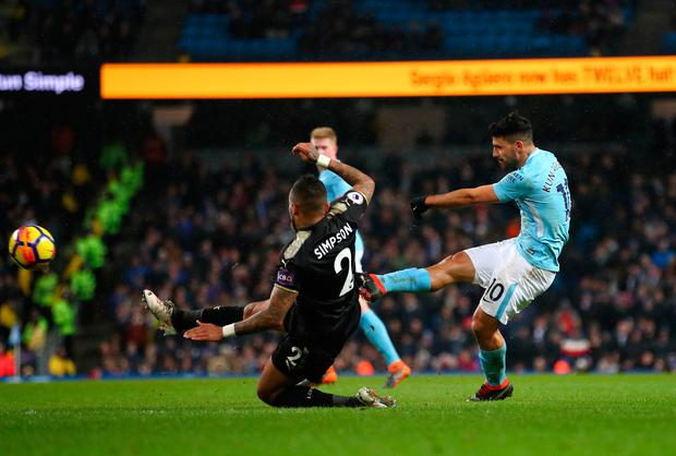 Sergio Aguero of Manchester City scores his sides fifth goal and his fourth. Photo: Getty Images