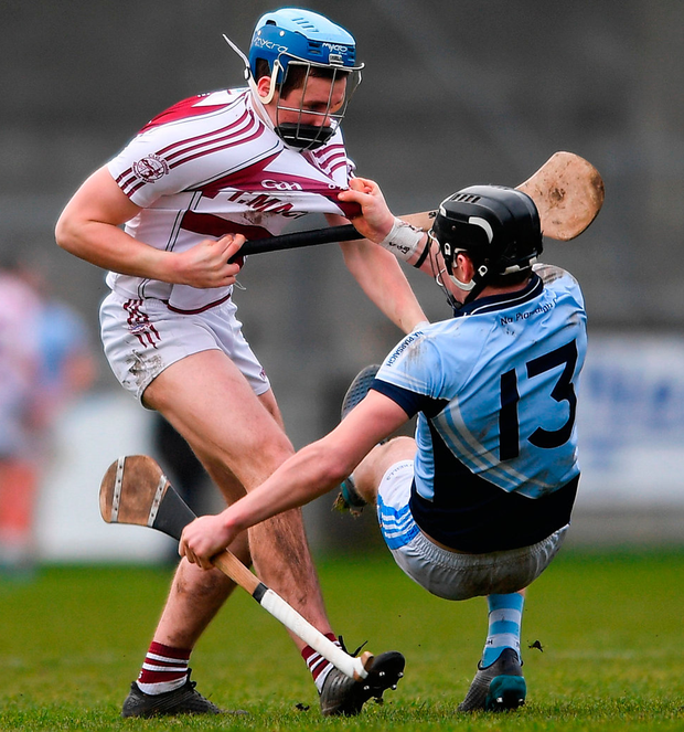 Conor Boylan of Na Piarsaigh during a coming together with Shane McGuigan of Slaughtneil. Photo: Eóin Noonan/Sportsfile