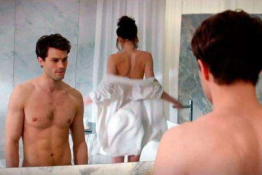 A scene from '50 Shades of Grey' starring Jamie Dornan and Dakota Johnson