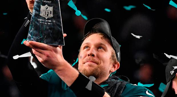 Philadelphia Eagles' quarterback Nick Foles celebrates following victory over the New England Patriots in the Super Bowl. Photo: Getty Images