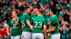 Jacob Stockdale of Ireland celebrates scoring his sides 6th try with team-mates Kieran Marmion, left, Rob Kearney, Jordan Larmour and Joey Carbery