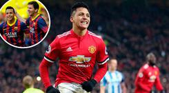 Manchester United's Alexis Sanchez and (inset) with Messi at Barcelona