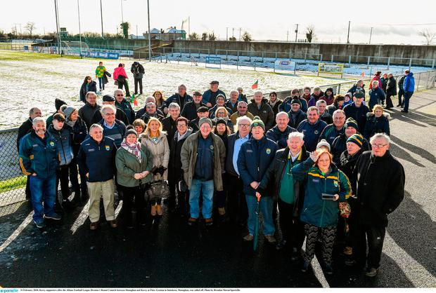 Kerry supporters after the Allianz Football League Division 1 Round 3 match between Monaghan and Kerry at Páirc Grattan in Inniskeen, Monaghan, was called off