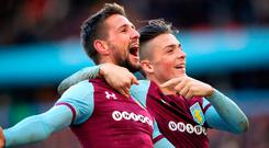 Aston Villa's Conor Hourihane (left) celebrates scoring his side's second goal