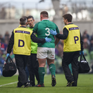10 February 2018; Tadhg Furlong of Ireland is substituted due to injury during the Six Nations Rugby Championship match between Ireland and Italy at the Aviva Stadium in Dublin. Photo by David Fitzgerald/Sportsfile