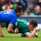 Robbie Henshaw goes over to score Ireland's fifth try. Photo: Sportsfile