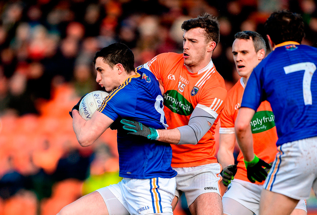 Darren Gallagher of Longford in action against Ethan Rafferty of Armagh. Photo: Oliver McVeigh/Sportsfile