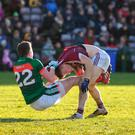 Mayo's Cillian O'Connor and Galway's Eoghan Kerin get to grips with each other. Photo: Diarmuid Greene/Sportsfile