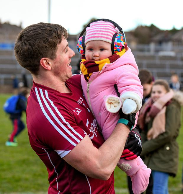 . Photo: Diarmuid Greene/SportsfileShane Walsh of Galway celebrates with his god-daughter Réaltín Walsh at Pearse Stadium, Galway yesterday