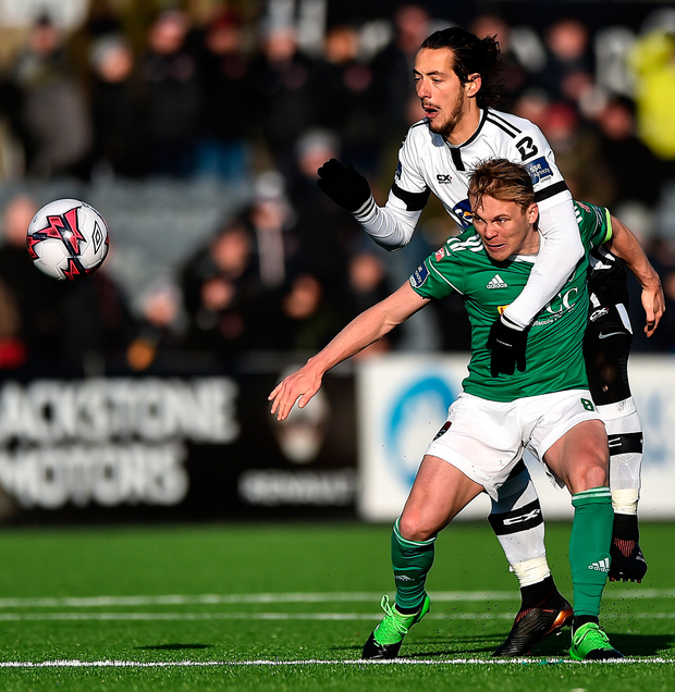 Cork City's Conor McCormack and Dundalk's Krisztián Adorján. Photo: Sportsfile
